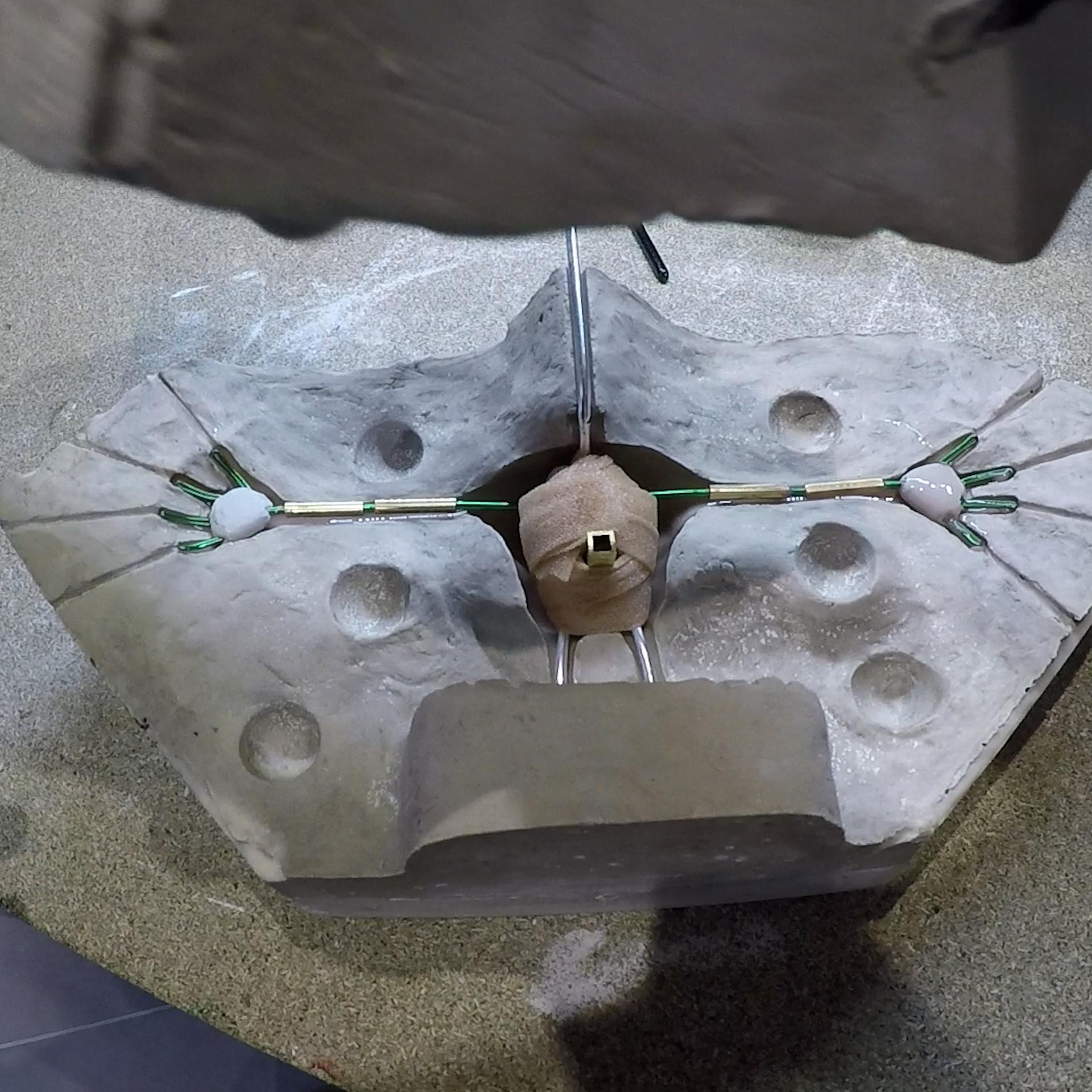 Armature prête pour couler le silicone dans le moule
